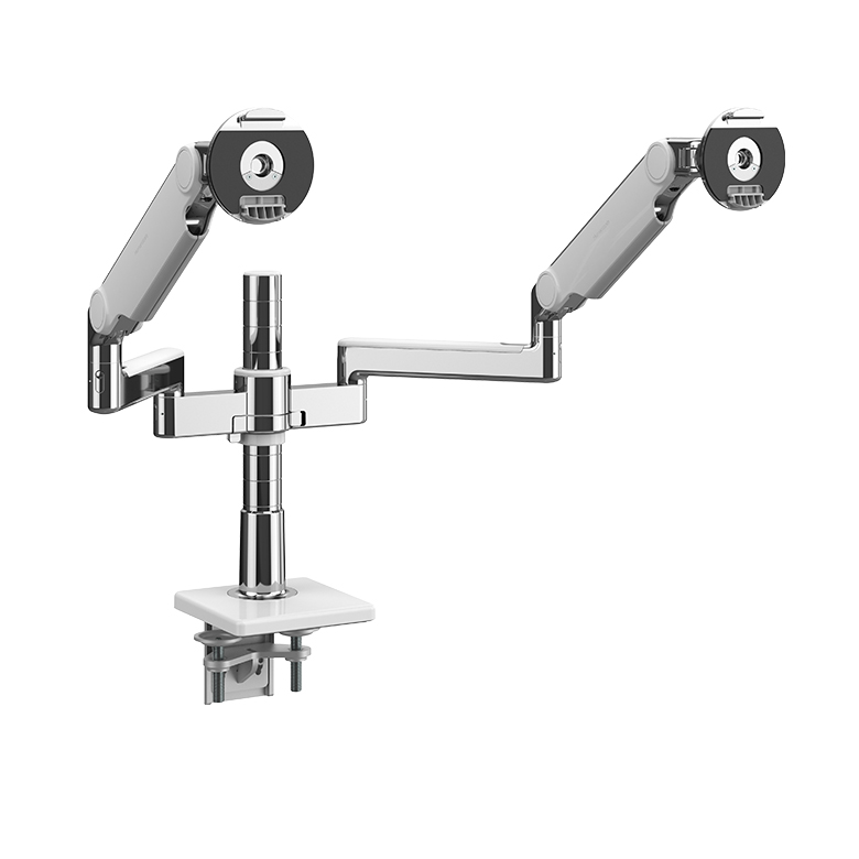 M/Flex with Dual M2.1 Monitor Arm with Clamp Mount, Polished Aluminium with White Trim.