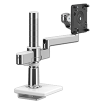 M/Flex with M2.1 Monitor Arm with 25mm Sliding Desk Clamp Mount, Polished Aluminium with White Trim.