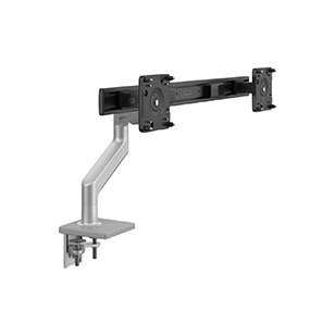 M8.1 Monitor Arm with Crossbar, Two-Piece Clamp Mount Base, Silver with Grey Trim