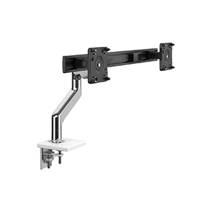 M8.1  Monitor Arm with Crossbar, Two-Piece Clamp Mount Base, Polished Aluminium with White Trim