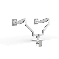 M2.1 Monitor Arms with Dual Two-Piece Clamp Mount Base, Polished Aluminium with White Trim