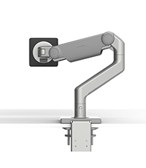 M8.1 MONITOR ARM WITH TWO-PIECE CLAMP MOUNT BASE, SILVER WITH GREY TRIM