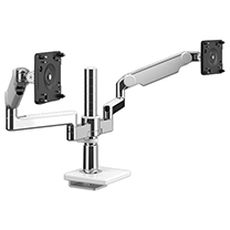 M/Flex with Dual M2.1 Monitor Arm with 25mm Sliding Desk Clamp Mount, Polished Aluminium with White Trim