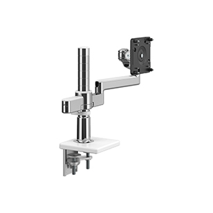 M/Flex with M2.1 Monitor Arm with Clamp Mount Base, Polished Aluminium with White Trim.