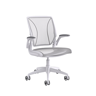 Diffrient World Chair Soft Bracking Casters, Pinstripe Back, Pinstripe Seat White