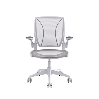 Diffrient World Chair Soft Bracking Casters, Pinstripe Back, Pinstripe Seat White Picture 2