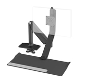 QuickStand Lite, Light Single Monitor, Clamp Mount, Black with Black Trim