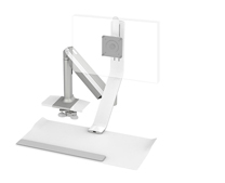 QuickStand Lite, Light Single Monitor, Clamp Mount, Silver with White Trim